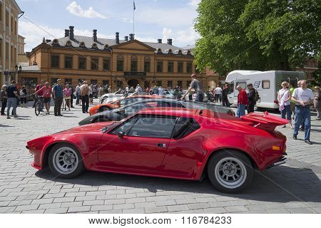 Exhibition of sports supercars, parade in Turku. Finland