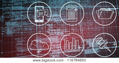 Blue matrix and codes against telephone apps icons