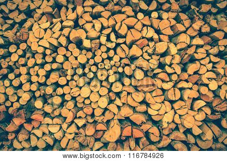 Stack Of Firewood, Wood Background Texture. Retro Style.