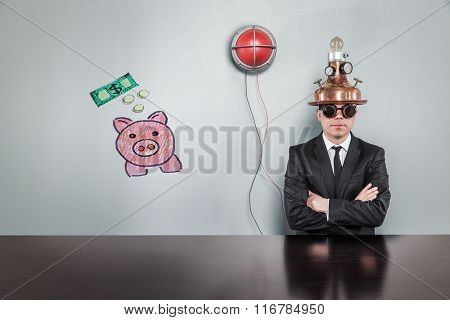 Money concept with alert light and vintage businessman