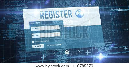 Blue matrix and codes against computer register page