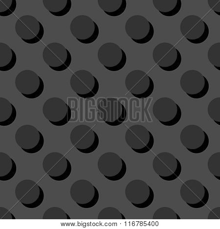 Tile vector pattern with polka dots on grey background