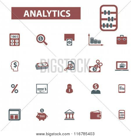 analytics, accounting, finance  icons, signs vector concept set for infographics, mobile, website, application