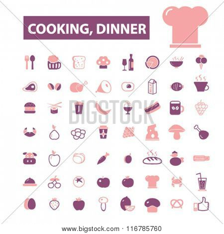 cooking, dinner, restaurant, dining, eating, fast food, restaurant  icons, signs vector concept set for infographics, mobile, website, application