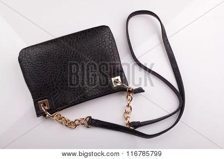 Black women's leather purse
