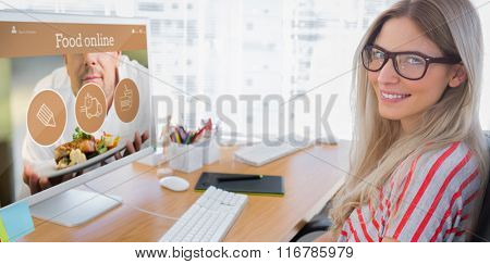 Attractive photo editor working on computer against food app