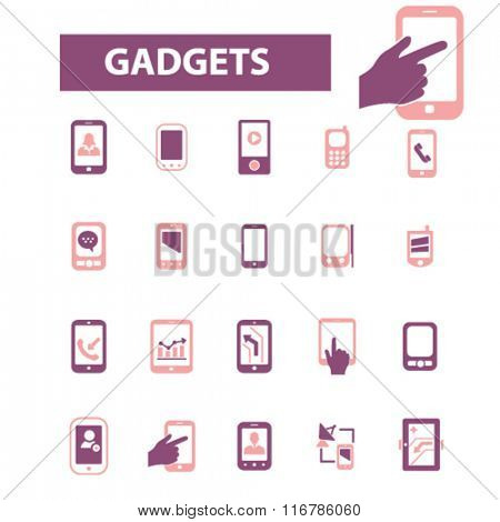 gadgets, smartphone, cell phone icons, signs set, vector