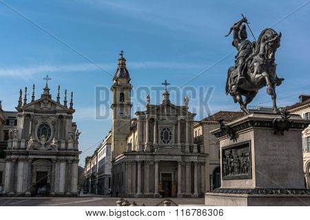 View of Piazza San Carlo in Turin, Italy