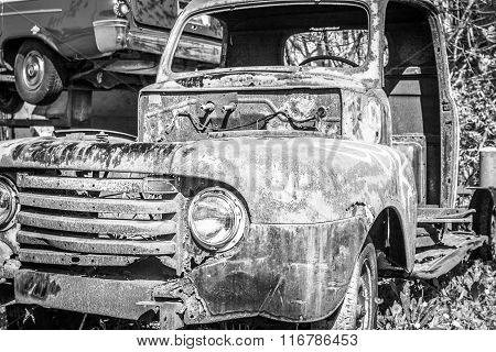 Junkyard Truck in Black-and-White