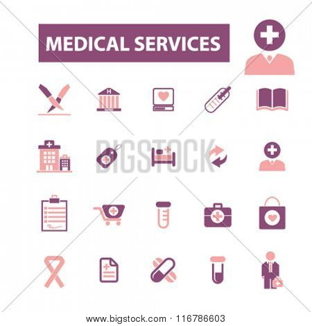 Medical and health care  icons, signs vector concept set for infographics, mobile, website, application
