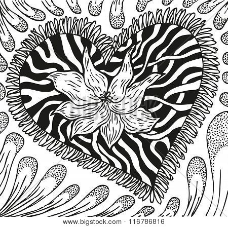 Abstract background of doodling hand drawn patterns, heart with streaks