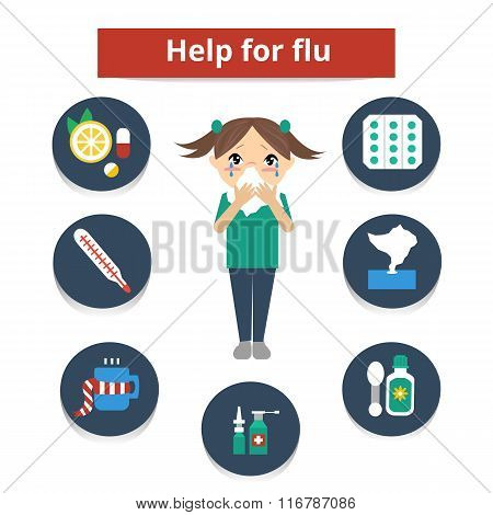 Girl with flu symptom blowing nose and set of Influenza medicine icons. Set of infographic element. Vector flat illustration.Help for flu and cold.