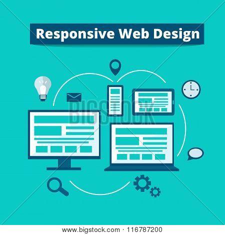 Responsive web design on different devices - digital tablet desktop computer smartphone laptop. Vector flat illustration.