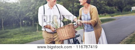 Bike Cheerful Natural Park Romance Two Family Concept