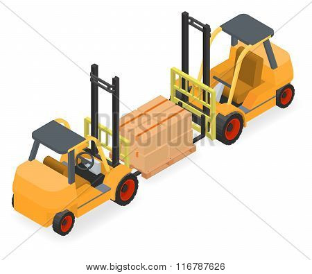 Forklifts elevate the pallet with cardboard boxes