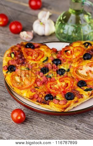 Hot Homemade Pizza  Heart With Cheese, Tomatoes, Olives