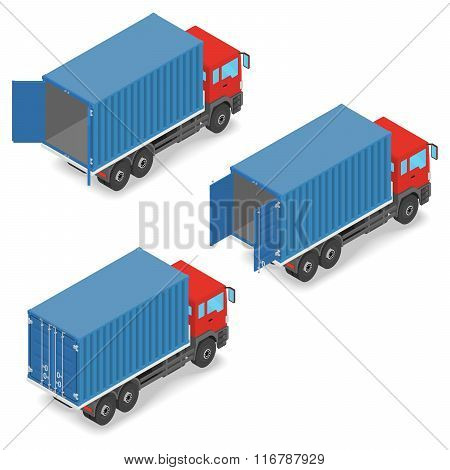 Red truck with shipping containers on board.