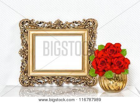 Golden Picture Frame Red Roses Flowers. Vintage Decoration