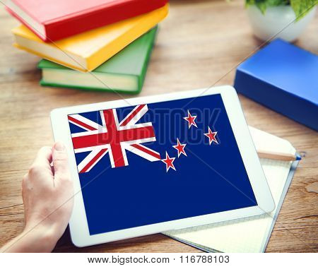 New Zealand National Flag Business Communication Connection Concept