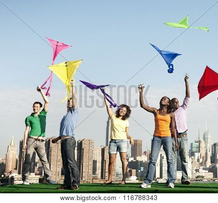 Kite Cheerful Cityscape Fly Sky Colorful Expression Concept