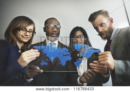 Global Business People Team Working World Map Concept