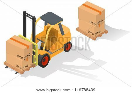 Isometric forklift truck with barrel on wooden pallet. Isolated on white background
