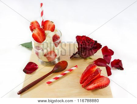 Strawberry Ice-cream, Rose Flower And Spoon On Wooden Board