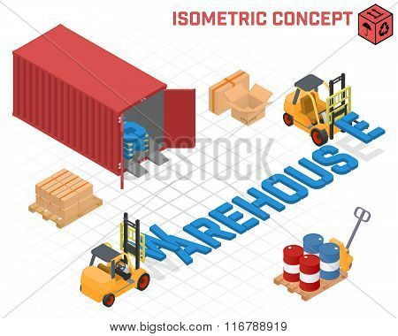 Vector concept - loaders build the word warehouse