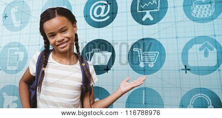 Portrait of a girl showing hand gesture against blue matrix