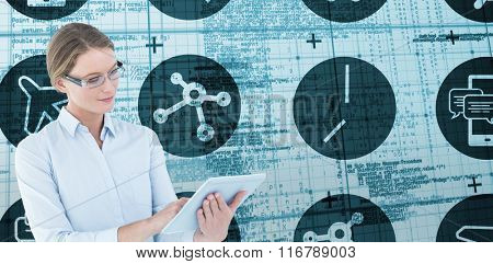 Businesswoman using tablet pc against blue matrix and codes