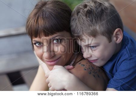 portrait of mother and son on Mother's Day.