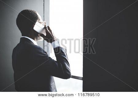 Businessman Telecommunication Talking Internet Concept