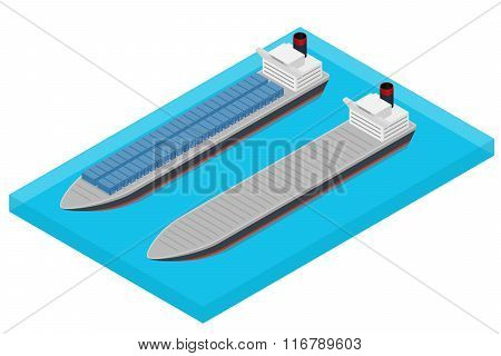 Vector isometric container ship at sea