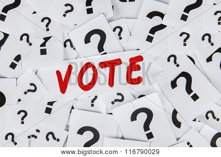 Question Sign With Text Of Vote