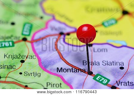 Montana pinned on a map of Bulgaria