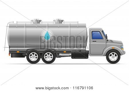 Cargo Truck With Tank For Transporting Liquids Vector Illustration