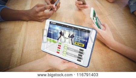 Sport app against high angle view of people using smartphones and digital tablet