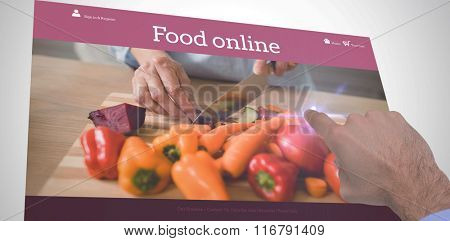 Businessman hand pointing something against food app
