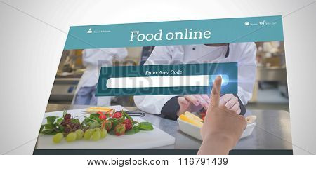 Female hand pointing against food app