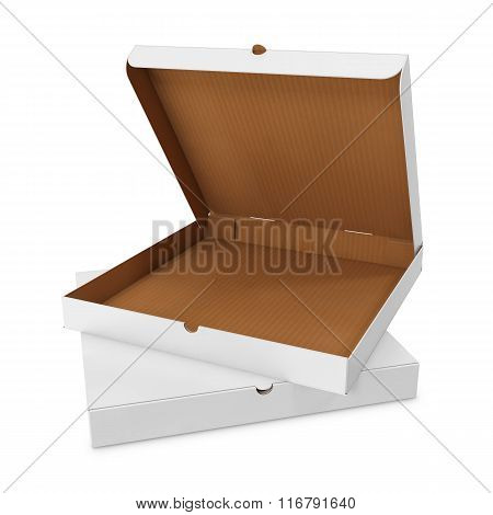 Open white box for pizza isolated