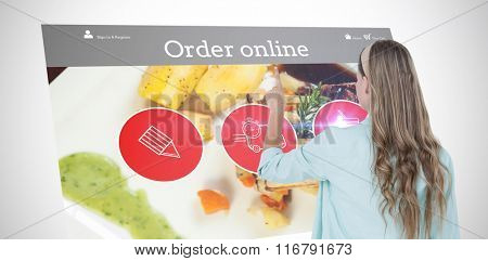Hipster pointing with her finger against food app