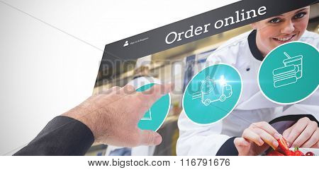 Businessman pointing with his finger against food app