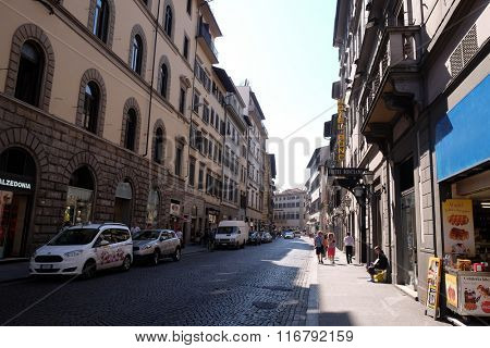 FLORENCE, ITALY - JUNE 05: Classic old street in the center of Florence, Italy, on June 05, 2015
