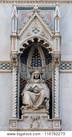 FLORENCE, ITALY - JUNE 05: Cardinal Pietro Valeriani, Left Portal of Cattedrale di Santa Maria del Fiore (Cathedral of Saint Mary of the Flower), Florence, Italy on June 05, 2015