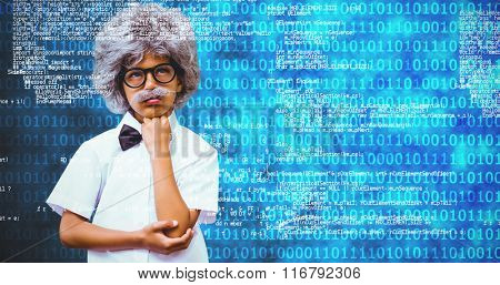Pupil dressed up in wig against shiny blue binary code on black background