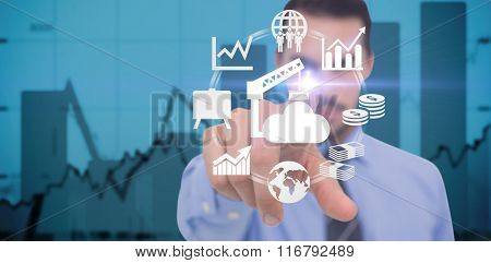 Businessman pointing his finger at camera against blue data
