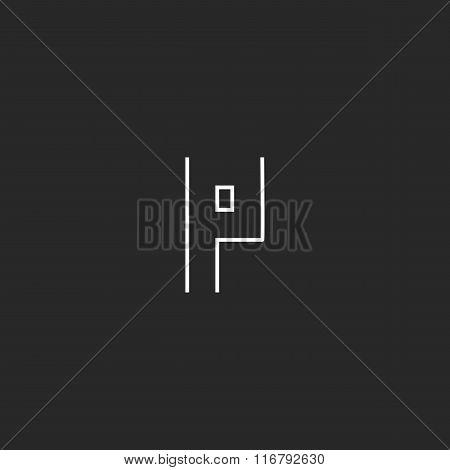 P Logo Letter Monogram, Minimalistic Thun Line Outline Emblem, Business Card Design Element