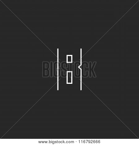 Monogram B Letter Logo, Modern Hipster Thin Line Emblem, Black And White Design Element Template