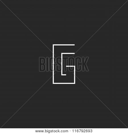 Monogram Mockup Logo G Letter, Modern Graphic Thin Line Style Design Element, Linear Emblem Template