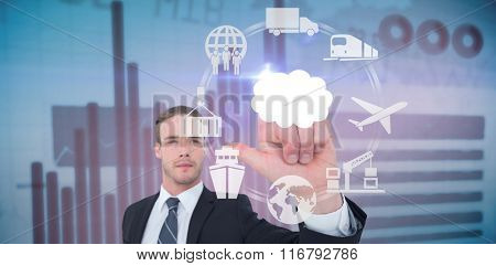 Unsmiling businessman in suit pointing up his finger against blue data